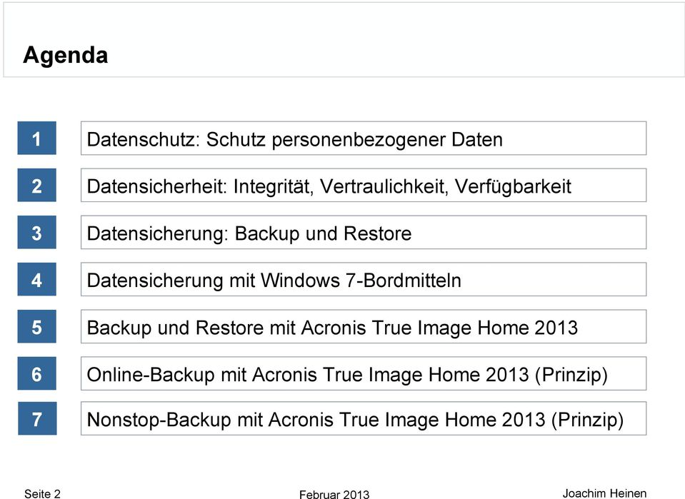 Windows 7-Bordmitteln 5 Backup und Restore mit Acronis True Image Home 2013 6 Online-Backup