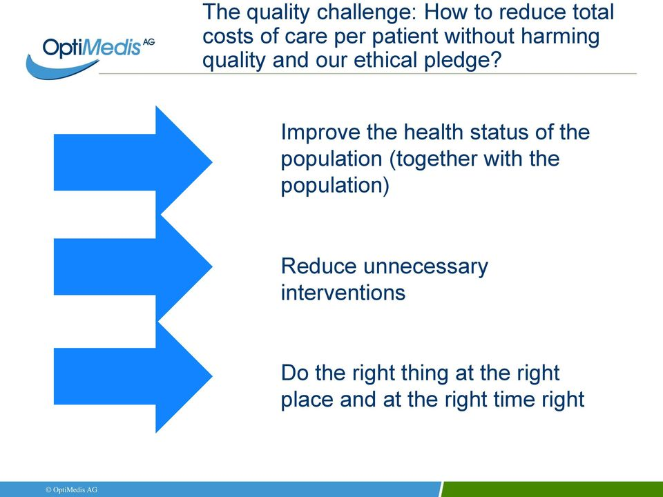 Improve the health status of the population (together with the