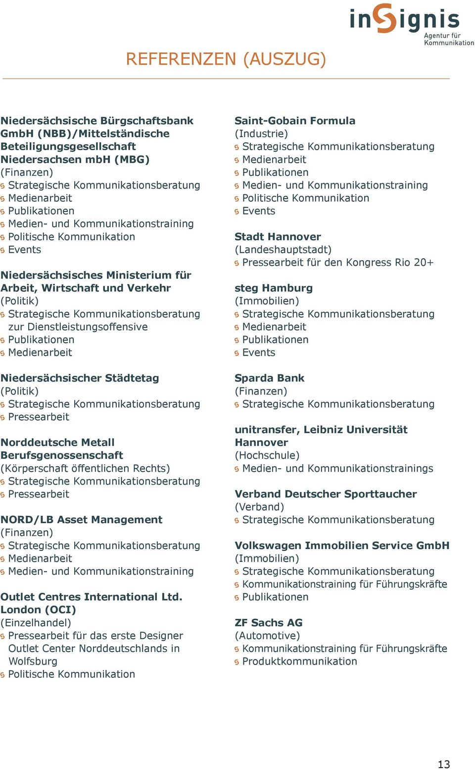 Berufsgenossenschaft (Körperschaft öffentlichen Rechts) NORD/LB Asset Management (Finanzen) Medien- und Kommunikationstraining Outlet Centres International Ltd.