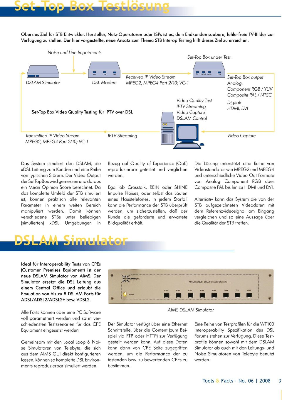 Noise und Line Impairments Set-Top Box under Test DSLAM Simulator WA N CTRL LAN DSL Modem Set-Top Box Video Quality Testing für IPTV over DSL Received IP Video Stream MPEG2, MPEG4 Part 2/10; VC-1 TV