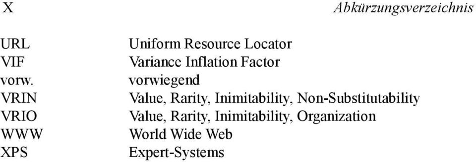 Locator Variance Inflation Factor vorwiegend Value, Rarity,