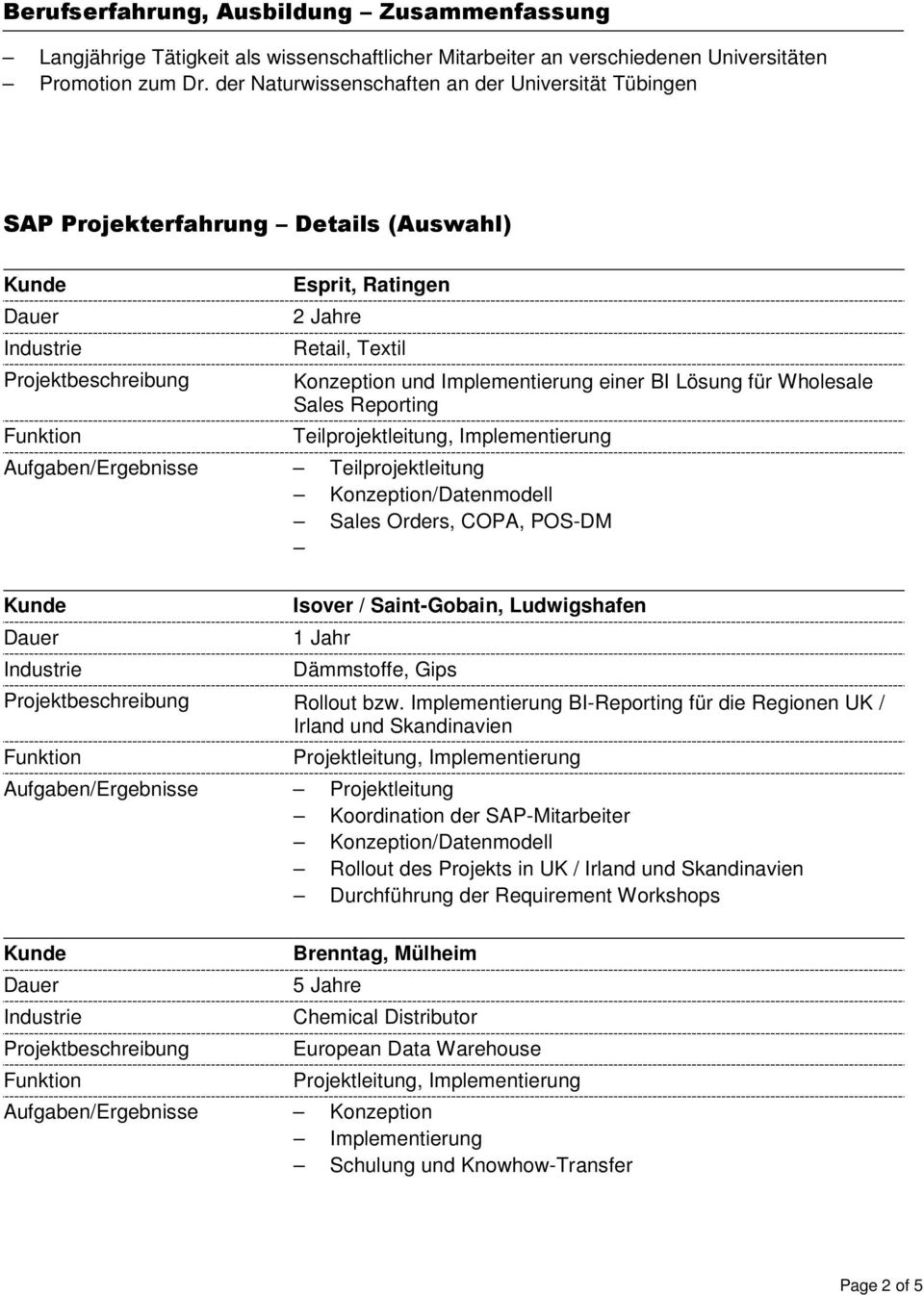 Reporting Teilprojektleitung, Implementierung Konzeption/Datenmodell Sales Orders, COPA, POS-DM Isover / Saint-Gobain, Ludwigshafen 1 Jahr Dämmstoffe, Gips Rollout bzw.