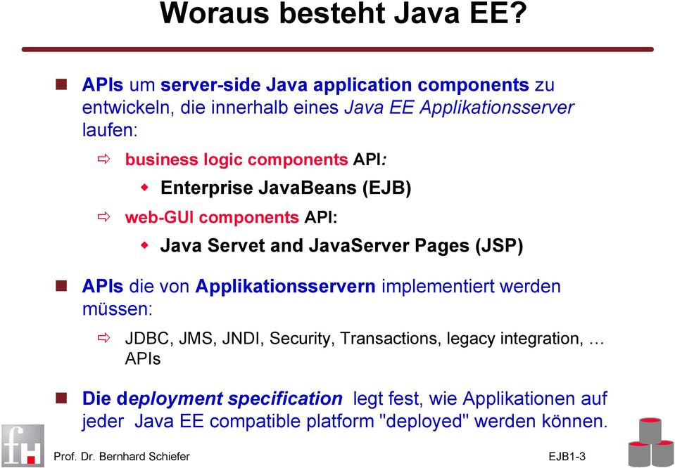 logic components API: Enterprise JavaBeans (EJB) web-gui components API: Java Servet and Java Pages (JSP) APIs die von