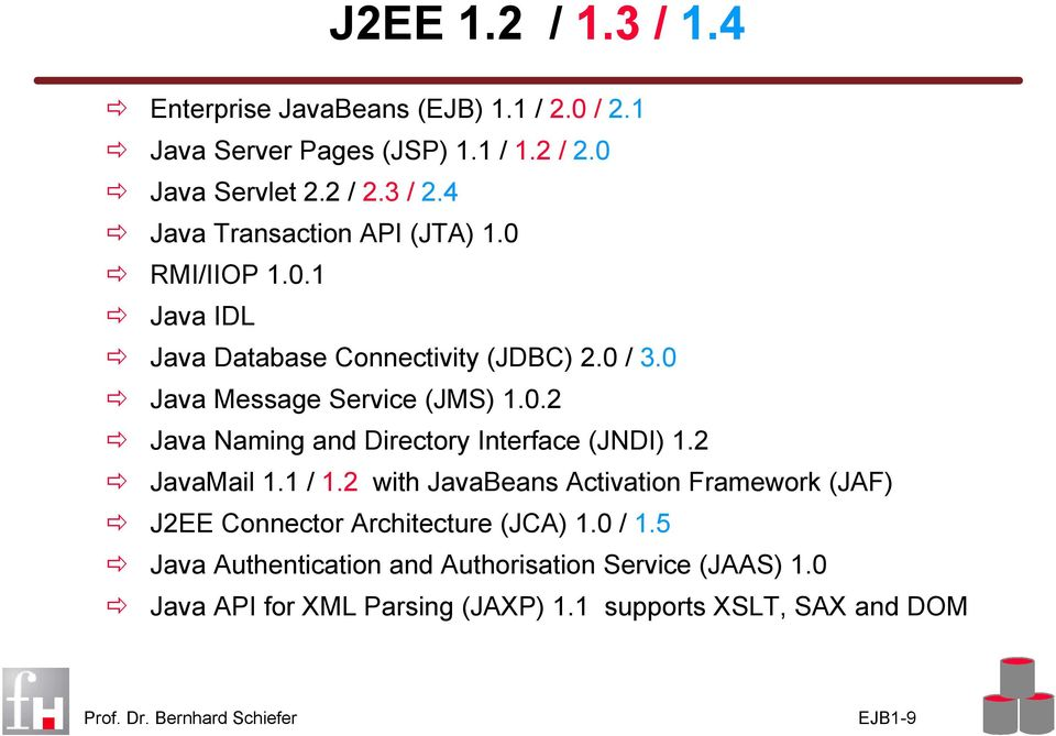 2 JavaMail 1.1 / 1.2 with JavaBeans Activation Framework (JAF) J2EE Connector Architecture (JCA) 1.0 / 1.