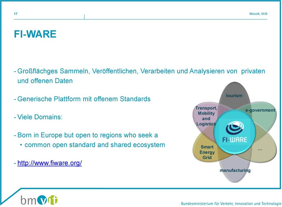 Domains: Transport, Mobility and Logistics e-government - Born in Europe but open to regions who