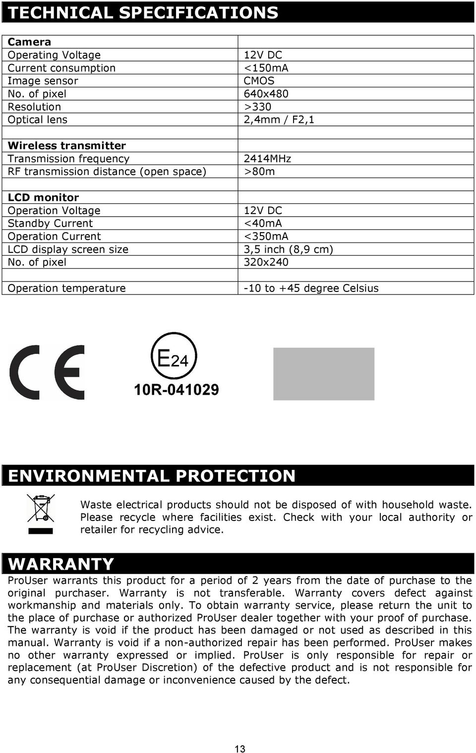 Operation Current LCD display screen size No.