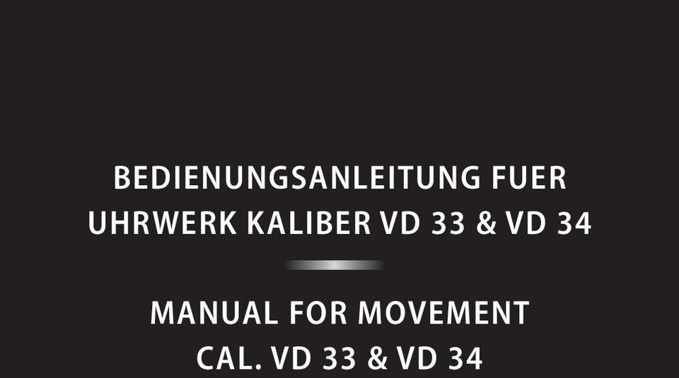 33 & VD 34 MANUAL FOR