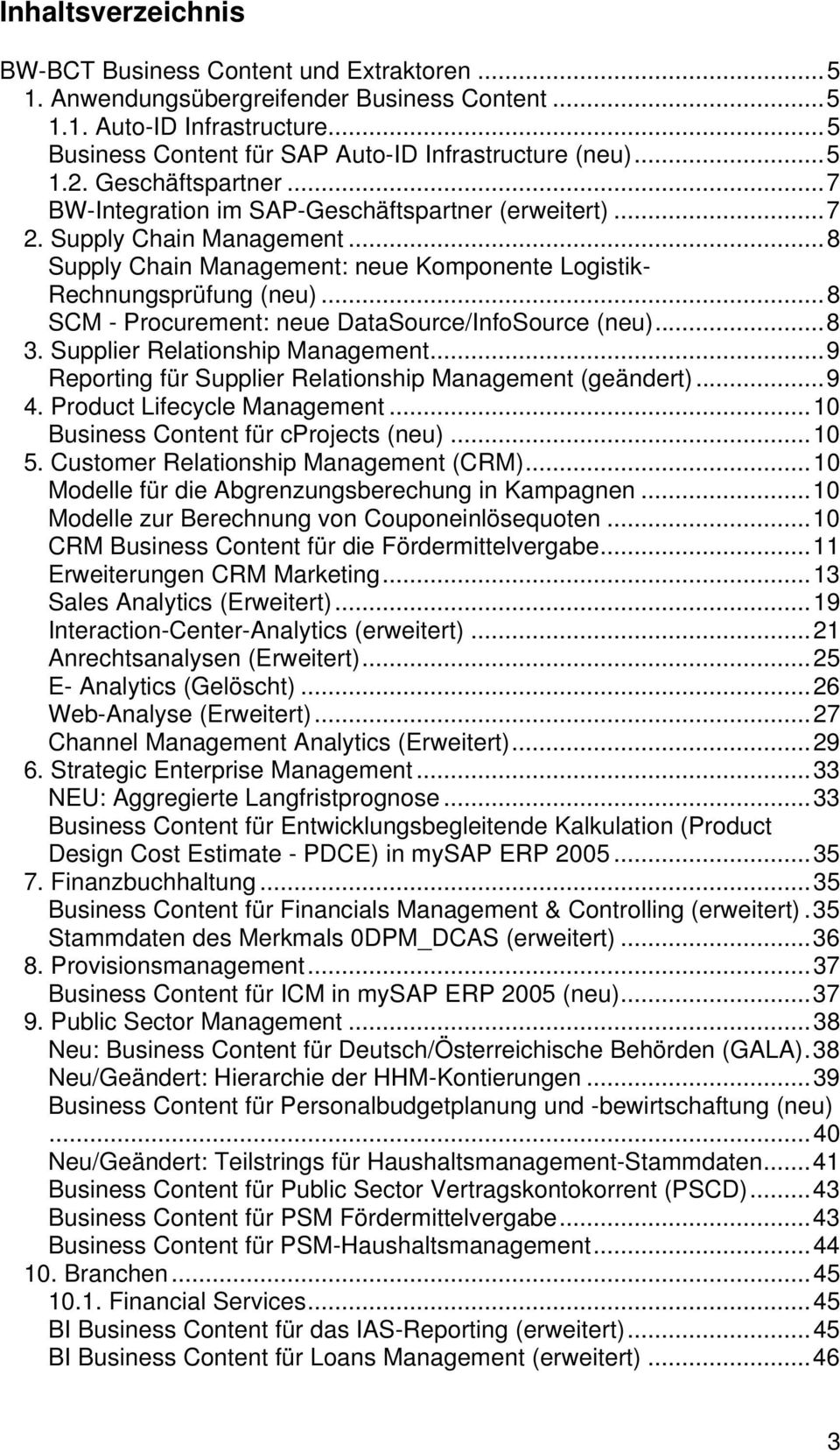 ..8 SCM - Prcurement: neue DataSurce/InfSurce (neu)...8 3. Supplier Relatinship Management...9 Reprting für Supplier Relatinship Management (geändert)...9 4. Prduct Lifecycle Management.