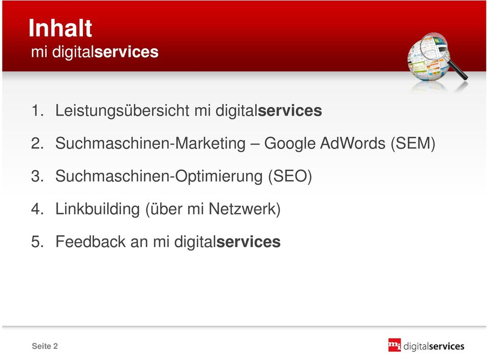 Suchmaschinen-Marketing Google AdWords (SEM) 3.