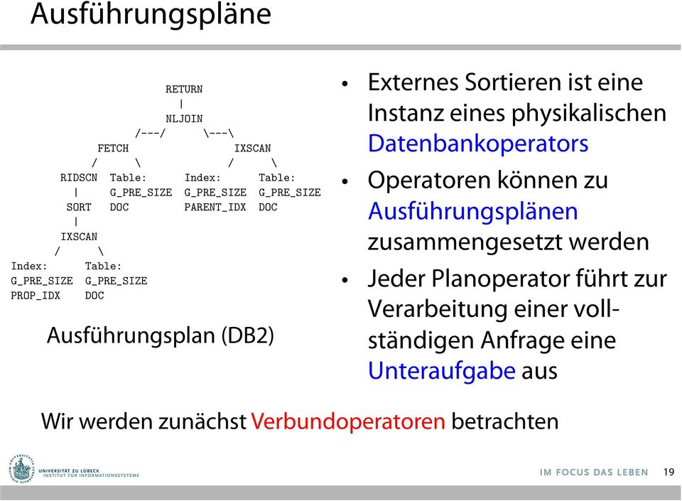 Externes Sortieren ist eine instance Instanz ofeines a (physical) physikalischen Datenbankoperators I External sorting is one database operator. Operatoren können zu into a query execution plan.