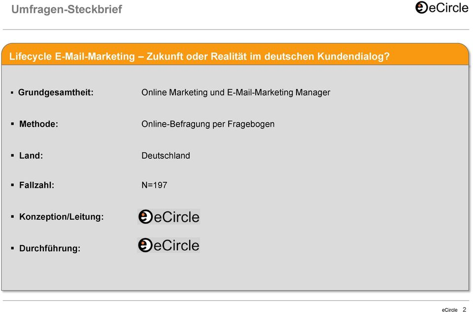 Grundgesamtheit: Online Marketing und E-Mail-Marketing Manager