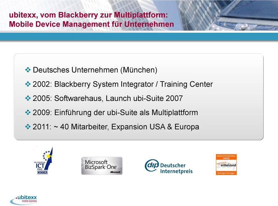 Integrator / Training Center 2005: Softwarehaus, Launch ubi-suite 2007 2009: