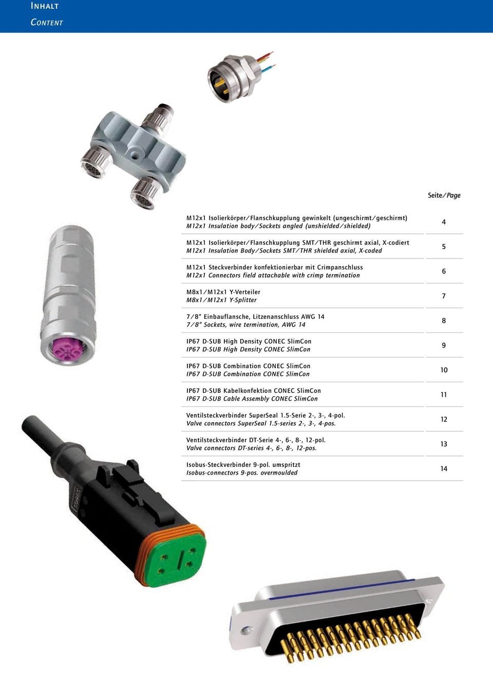 Connectors field attachable with crimp termination M8x1/M12x1 Y-Verteiler M8x1/M12x1 Y-Splitter 7/8 Einbauflansche, Litzenanschluss AWG 14 7/8 Sockets, wire termination, AWG 14 IP67 D-SUB High