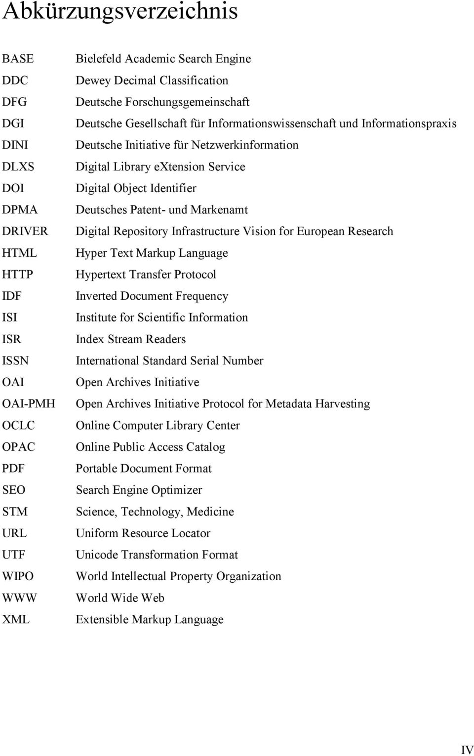 Digital Object Identifier Deutsches Patent- und Markenamt Digital Repository Infrastructure Vision for European Research Hyper Text Markup Language Hypertext Transfer Protocol Inverted Document
