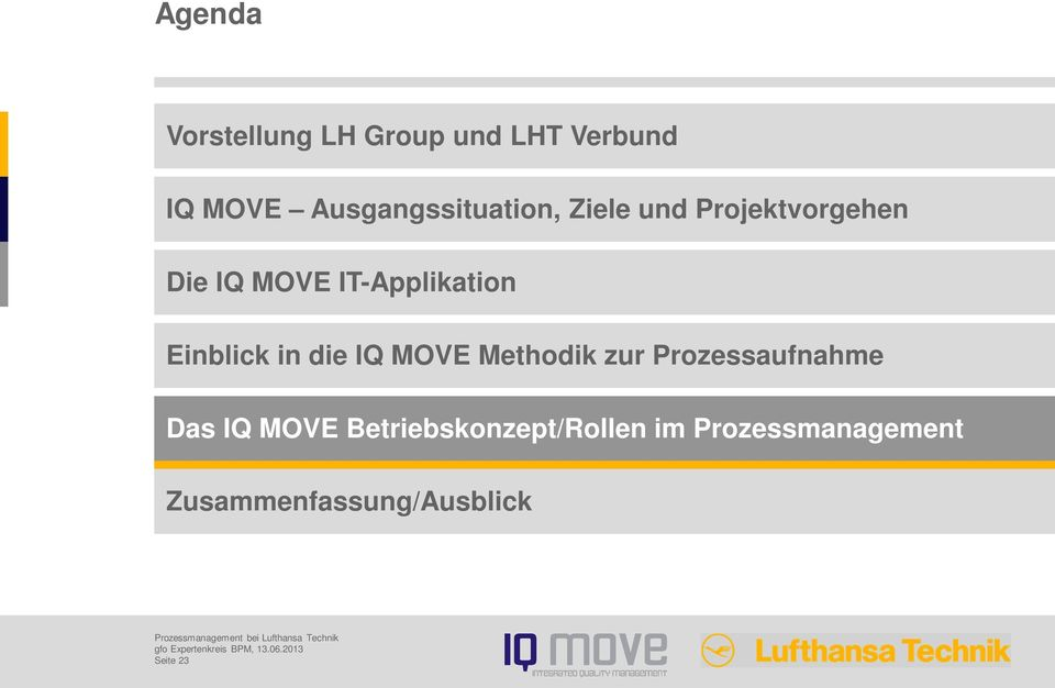 IT-Applikation Einblick in die IQ MOVE Methodik zur