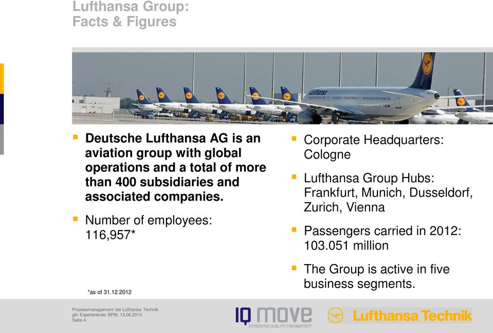 12.2012 Corporate Headquarters: Cologne Lufthansa Group Hubs: Frankfurt, Munich, Dusseldorf, Zurich,