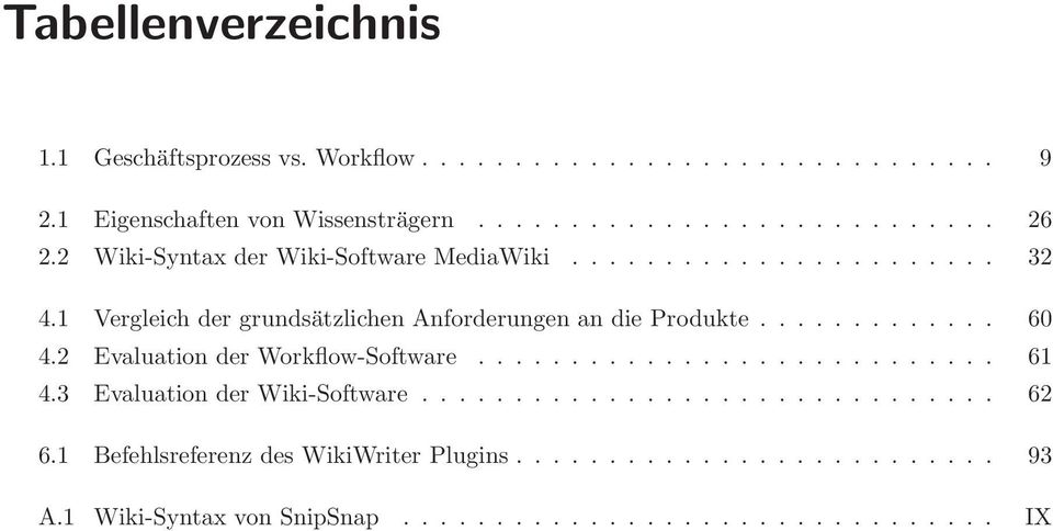 2 Evaluation der Workflow-Software............................ 61 4.3 Evaluation der Wiki-Software............................... 62 6.