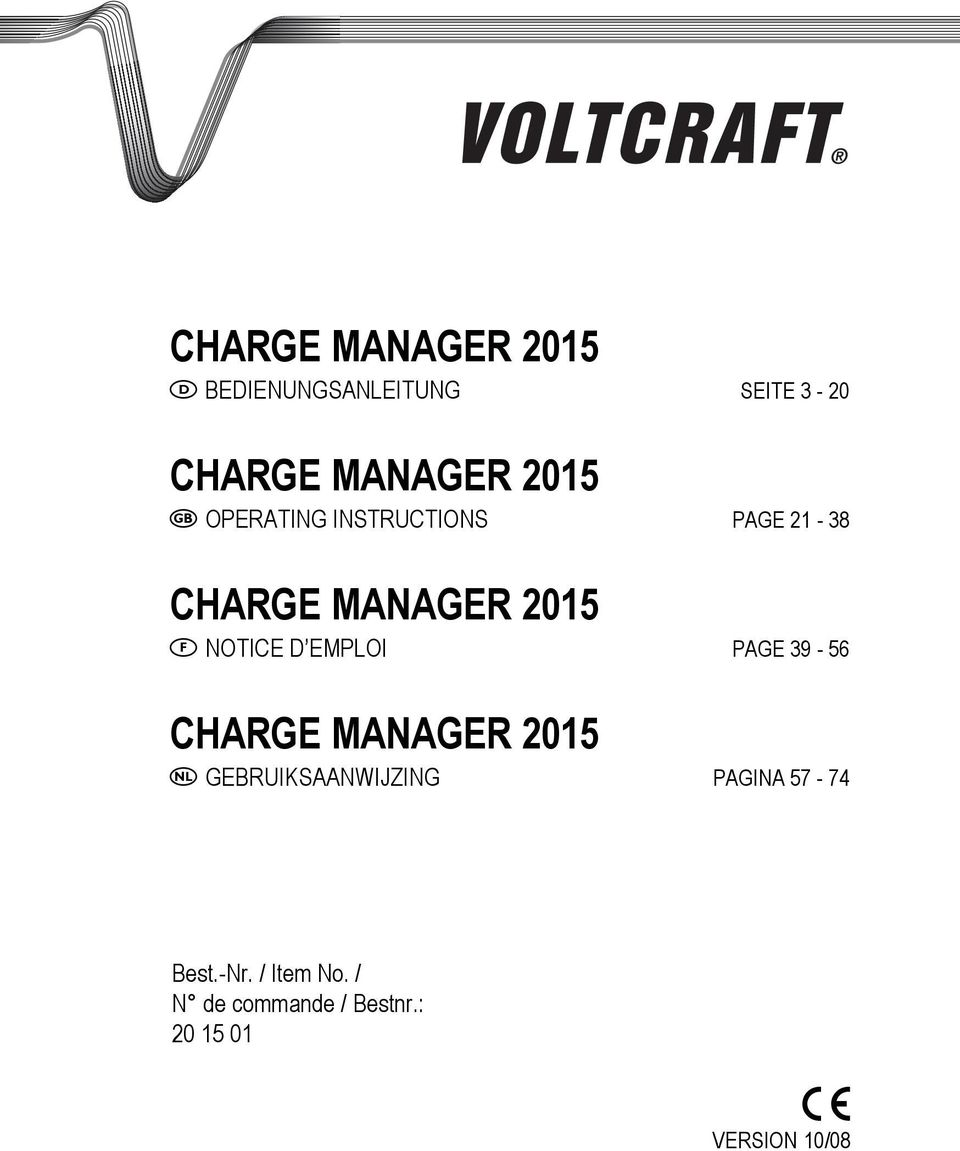 EMPLOI PAGE 39-56 CHARGE MANAGER 2015 GEBRUIKSAANWIJZING PAGINA