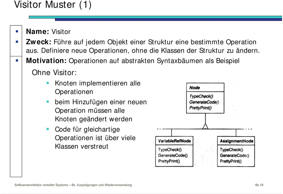 Motivation: Operationen auf abstrakten Syntaxbäumen als Beispiel Ohne Visitor: Knoten implementieren alle Operationen beim