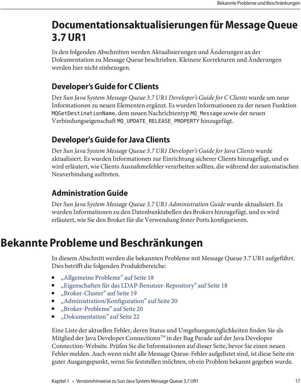 Developer s Guide for C Clients Der Sun Java System Message Queue 3.7 UR1 Developer s Guide for C Clients wurde um neue Informationen zu neuen Elementen ergänzt.