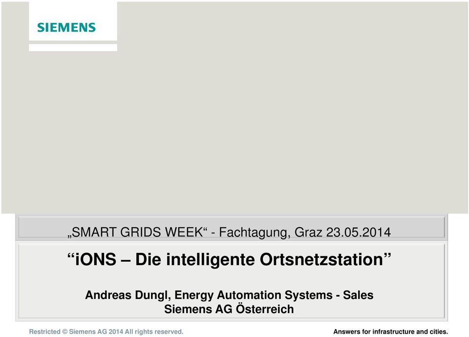 Andreas Dungl, Energy Automation Systems - Sales