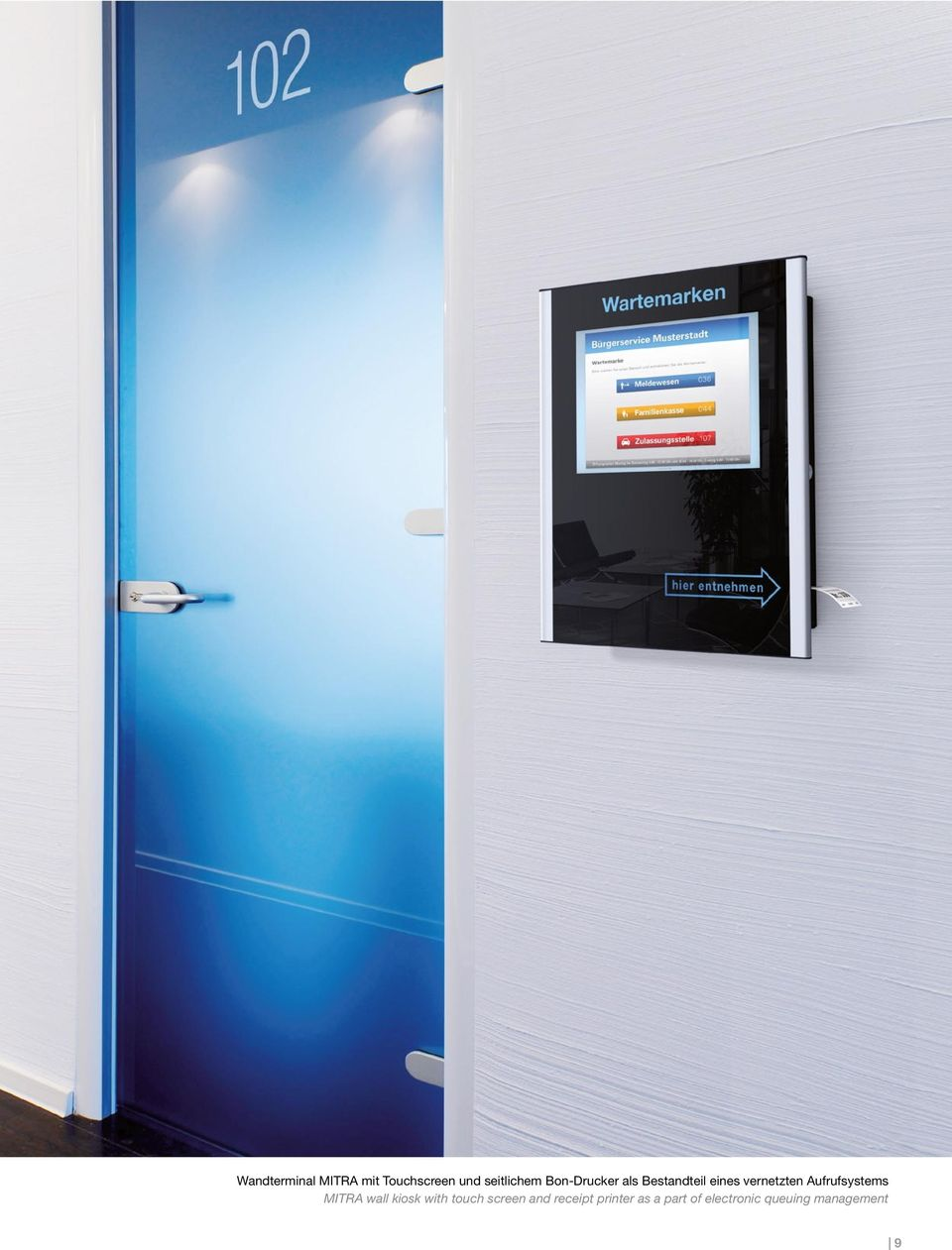 Aufrufsystems MITRA wall kiosk with touch screen