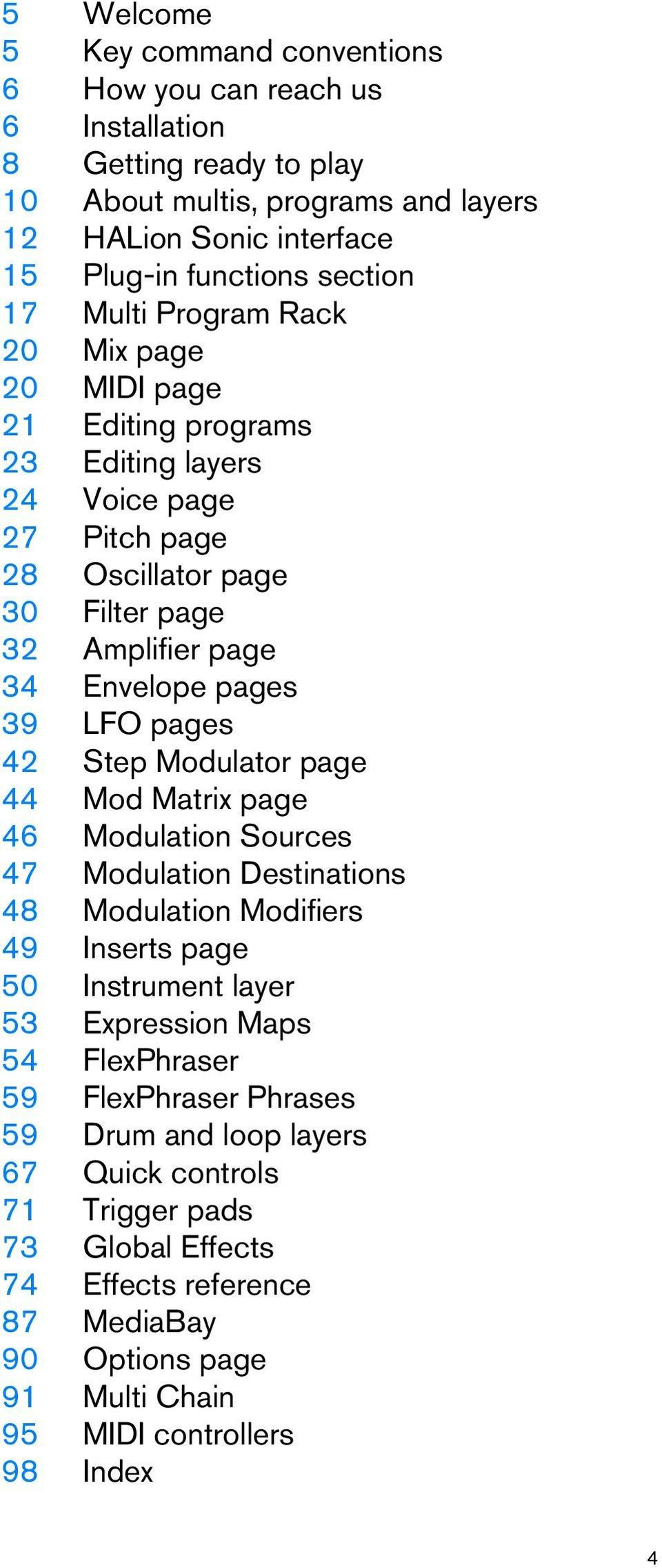 42 Step Modulator page 44 Mod Matrix page 46 Modulation Sources 47 Modulation Destinations 48 Modulation Modifiers 49 Inserts page 50 Instrument layer 53 Expression Maps 54 FlexPhraser 59