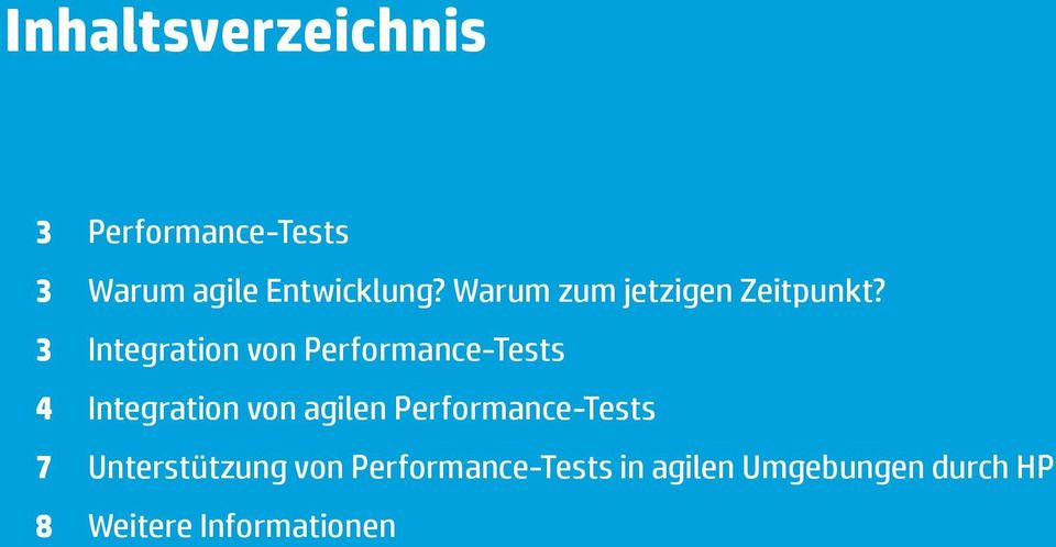 3 Integration von Performance-Tests 4 Integration von agilen
