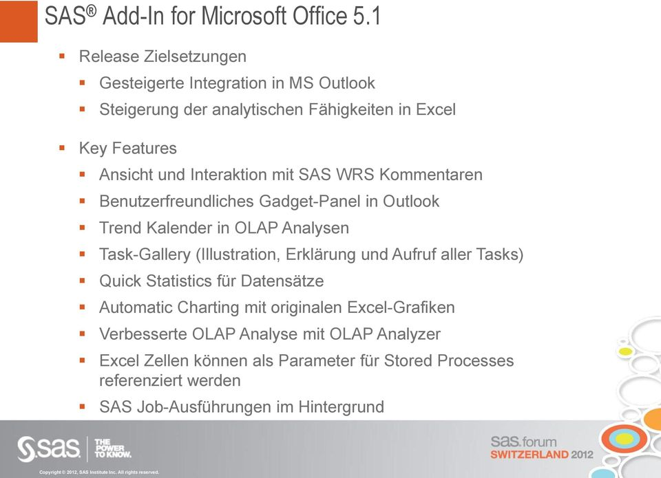 Interaktion mit SAS WRS Kommentaren Benutzerfreundliches Gadget-Panel in Outlook Trend Kalender in OLAP Analysen Task-Gallery (Illustration,