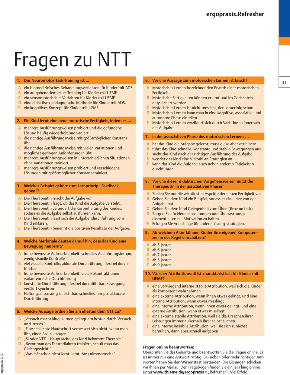Leseprobe. Neuromotor Task Training ERGOTHERAPIE IN ALLEN FACETTEN ...