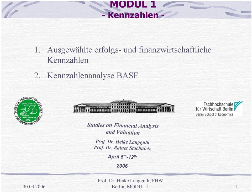 Kennzahlenanalyse BASF Studies on Financial Analysis and
