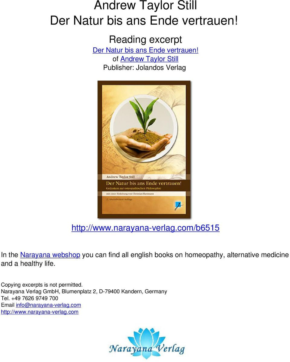 com/b6515 In the Narayana webshop you can find all english books on homeopathy, alternative medicine and a healthy life.