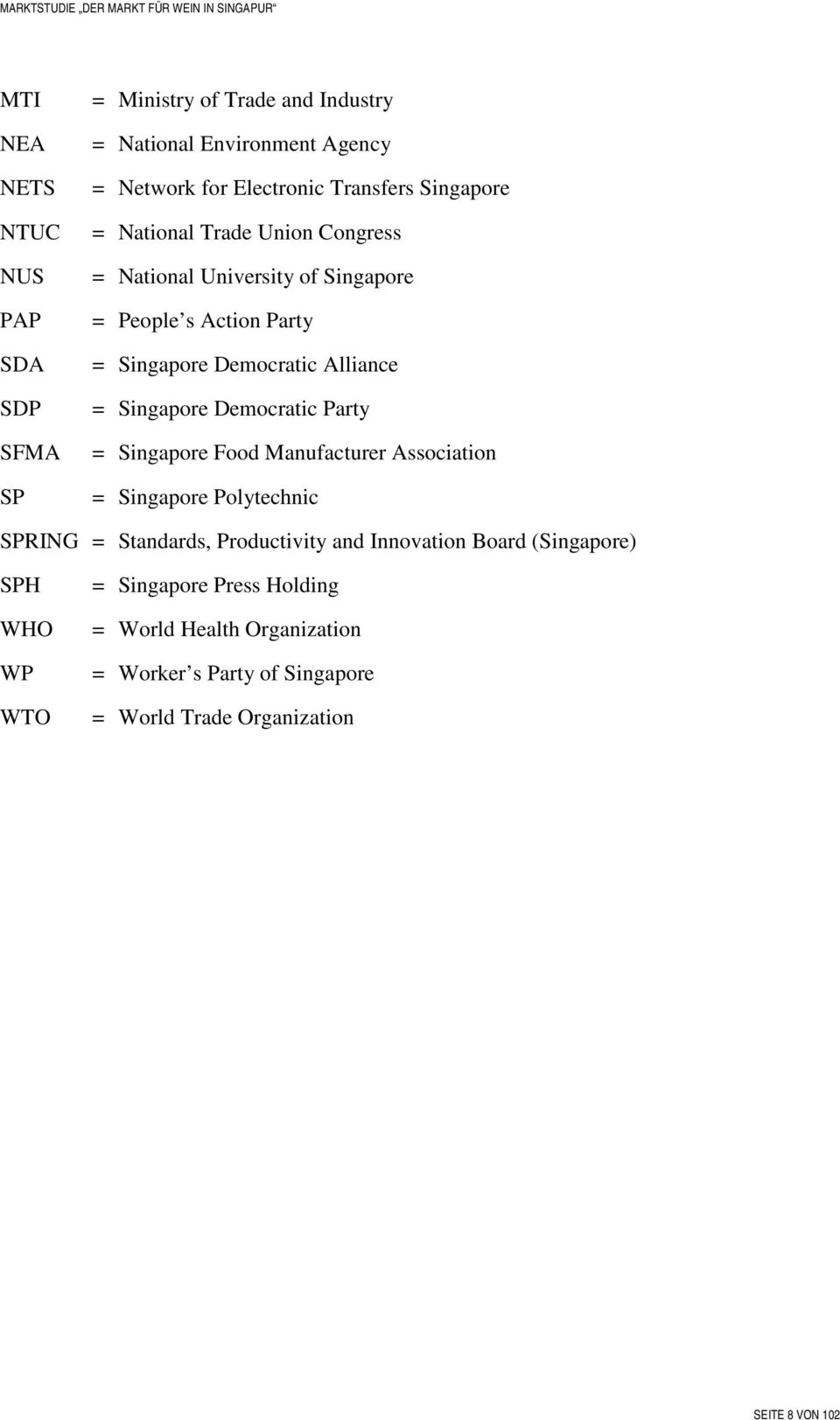 Singapore Democratic Party = Singapore Food Manufacturer Association = Singapore Polytechnic SPRING = Standards, Productivity and Innovation