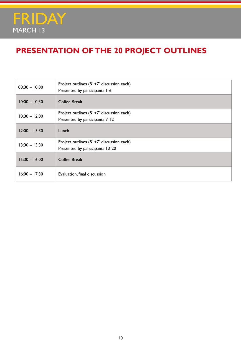 discussion each) Presented by participants 7-12 12:00 13:30 Lunch 13:30 15:30 Project outlines (8 +7