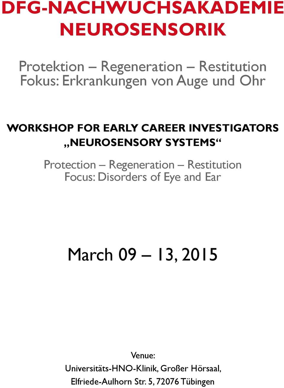 Systems Protection Regeneration Restitution Focus: Disorders of Eye and Ear March 09