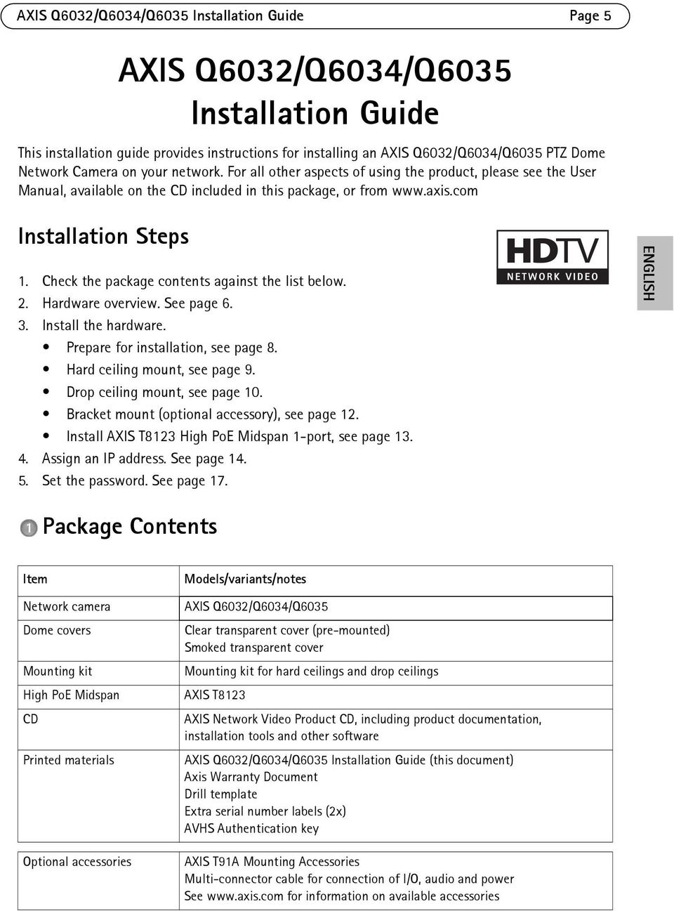 Check the package contents against the list below. 2. Hardware overview. See page 6. 3. Install the hardware. Prepare for installation, see page 8. Hard ceiling mount, see page 9.