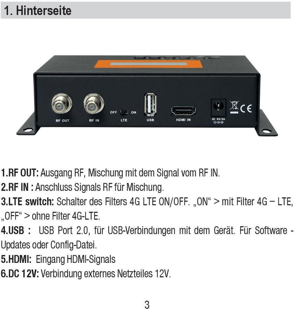 ON > mit Filter 4G LTE, OFF > ohne Filter 4G-LTE. 4.USB : USB Port 2.