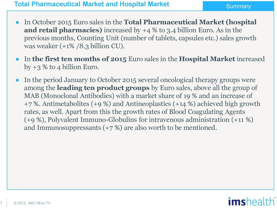 In the first ten months of 20 Euro sales in the Hospital Market increased by +3 % to 4 billion Euro.