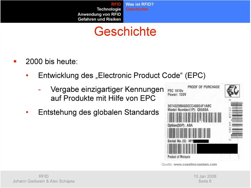 Electronic Product Code (EPC) - Vergabe einzigartiger