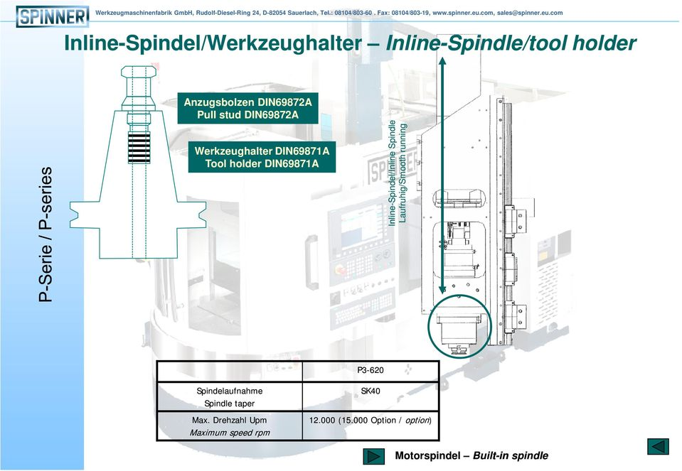 Spindle Laufruhig/Smooth running P3-620 Spindelaufnahme Spindle taper Max.