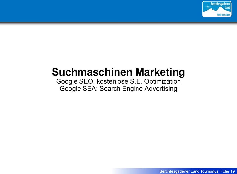 Optimization Google SEA: Search