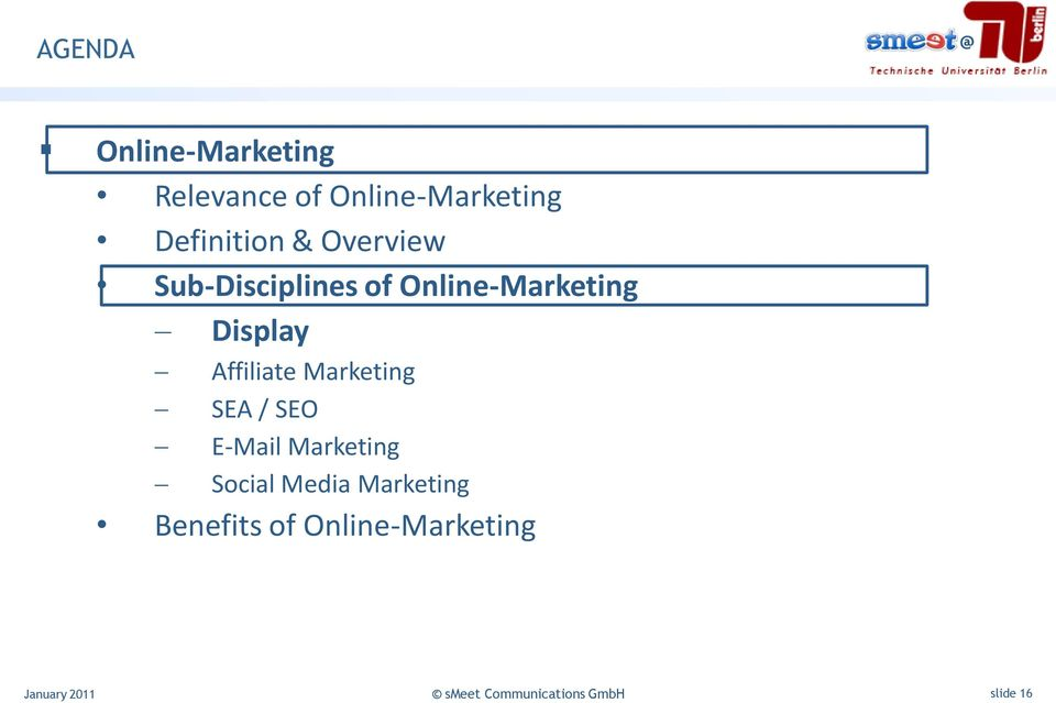 Online-Marketing Display Affiliate Marketing SEA / SEO