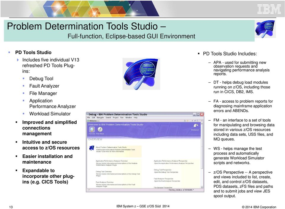incorporate other plugins (e.g. CICS Tools) PD Tools Studio Includes: APA - used for submitting new observation requests and navigating performance analysis reports.