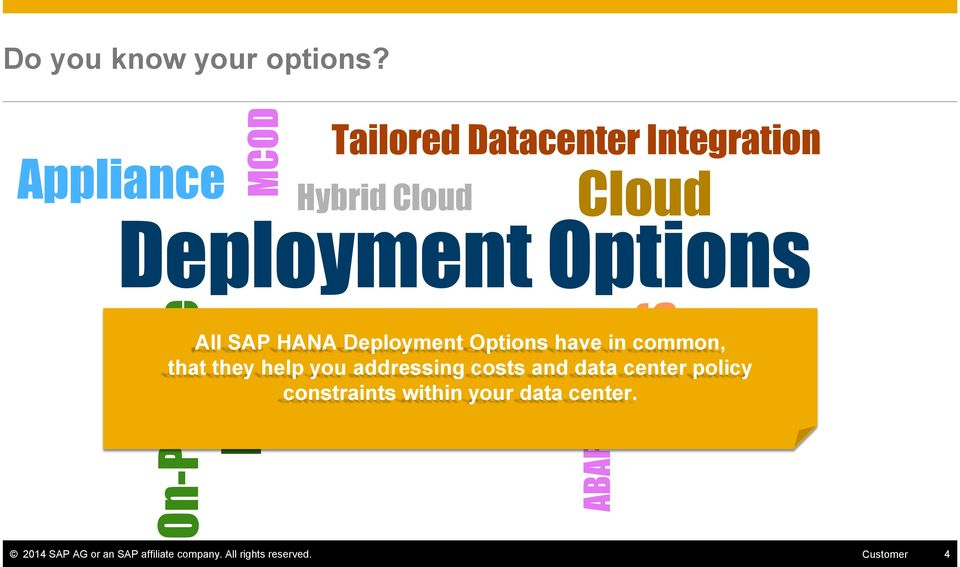 SAP HANA Deployment Options have in common, that they help you addressing costs and data center