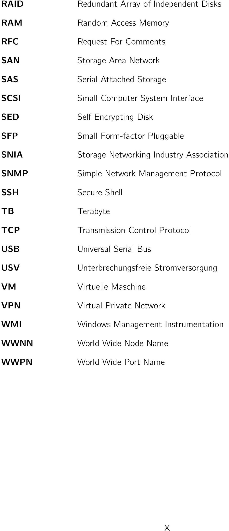 Storage Networking Industry Association Simple Network Management Protocol Secure Shell Terabyte Transmission Control Protocol Universal Serial Bus
