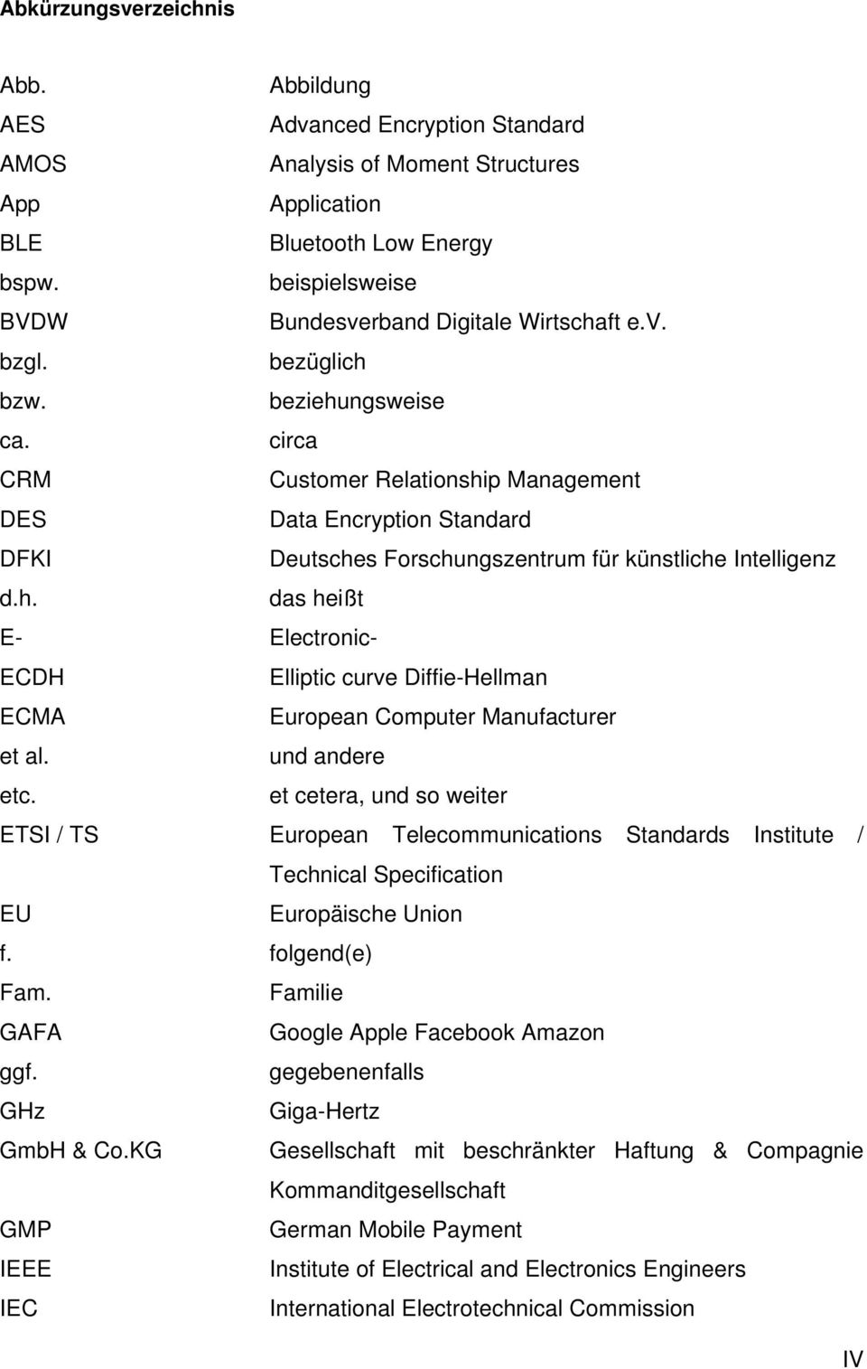 circa CRM Customer Relationship Management DES Data Encryption Standard DFKI Deutsches Forschungszentrum für künstliche Intelligenz d.h. das heißt E- Electronic- ECDH Elliptic curve Diffie-Hellman ECMA European Computer Manufacturer et al.