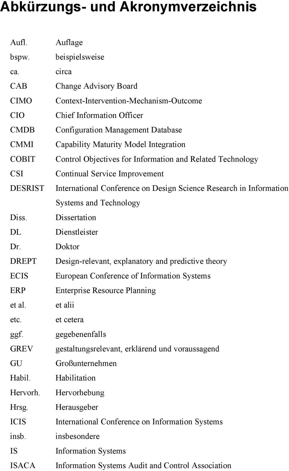 Control Objectives for Information and Related Technology CSI Continual Service Improvement DESRIST International Conference on Design Science Research in Information Systems and Technology Diss.