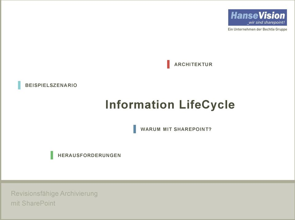 BEISPIELSZENARIO Information LifeCycle