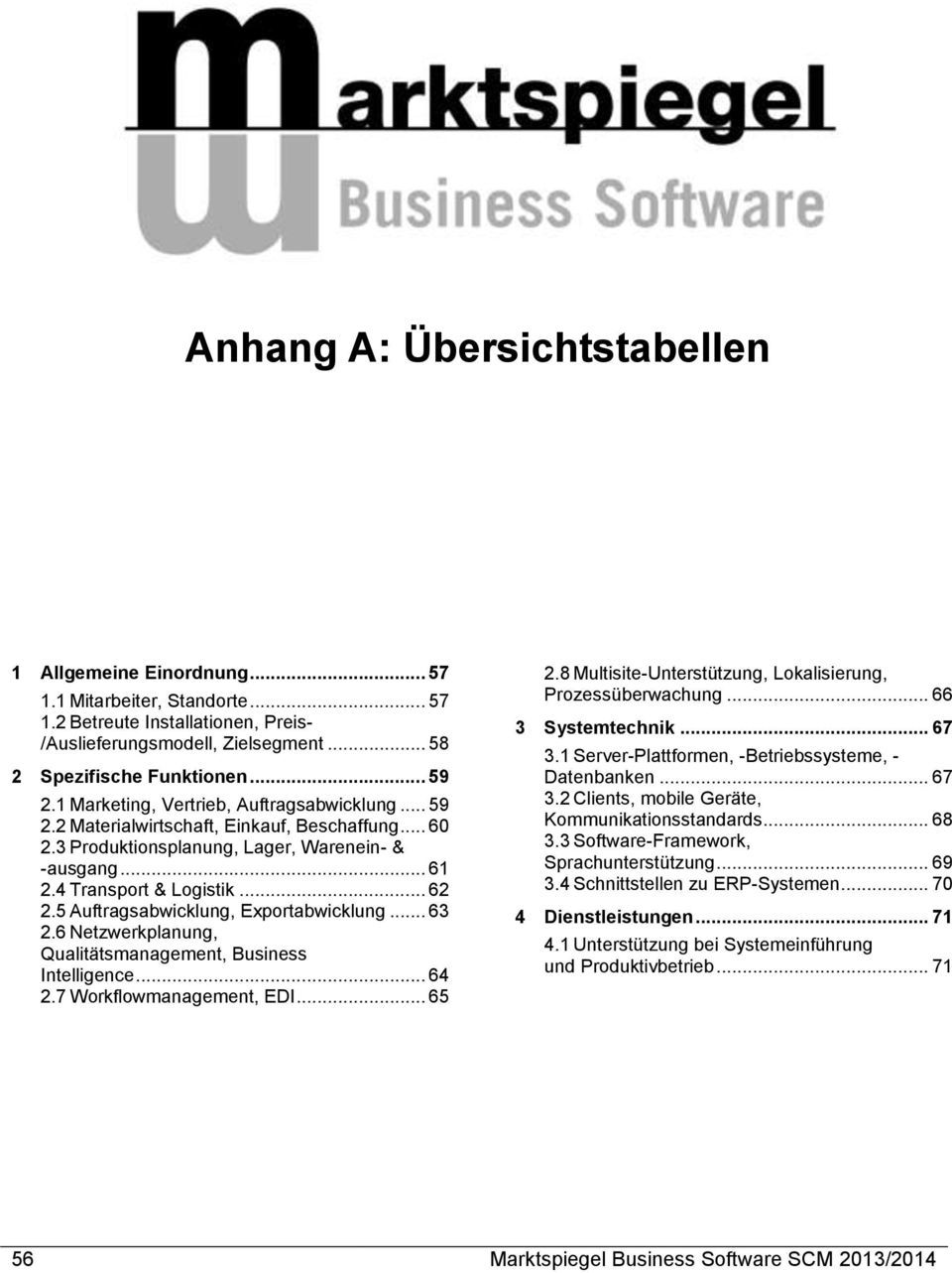 5 Auftragsabwicklung, Exportabwicklung... 63 2.6 Netzwerkplanung, Qualitätsmanagement, Business Intelligence... 64 2.7 Workflowmanagement, EDI... 65 2.