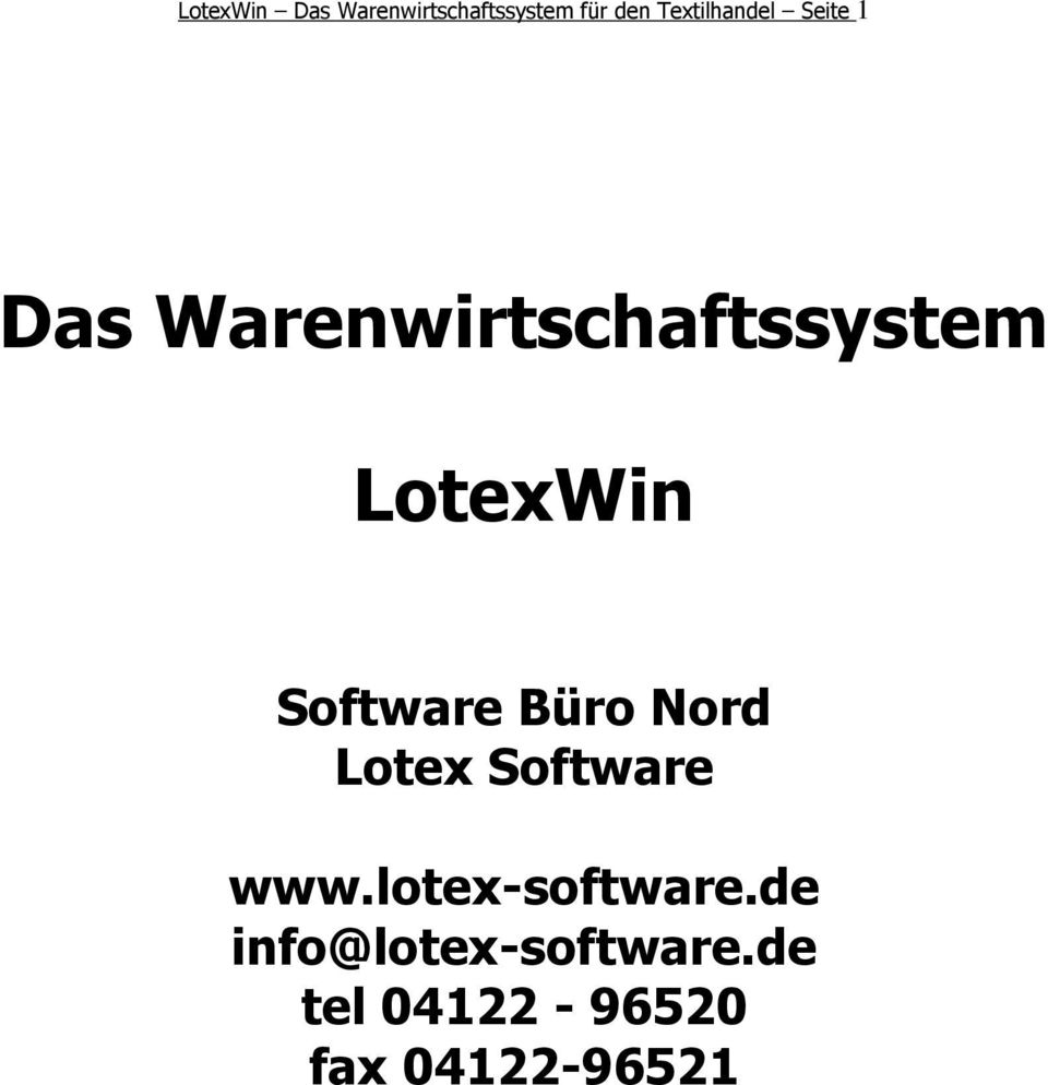 LotexWin Software Büro Nord Lotex Software www.